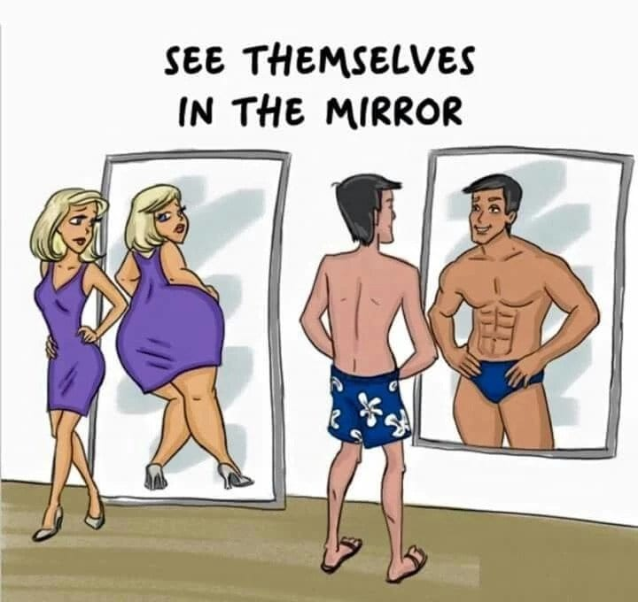 Illustration of a man and woman looking in the mirror