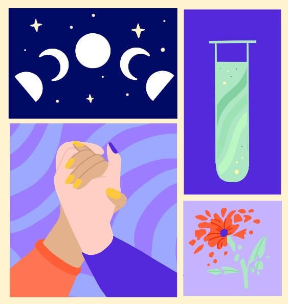 Phases of the moon, holding hands, a flower in pieces and a test tube illustration