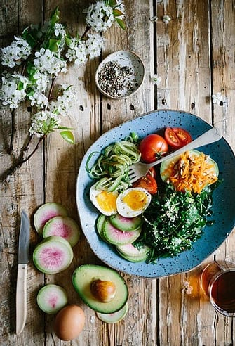 Eggs and veggies on a plate