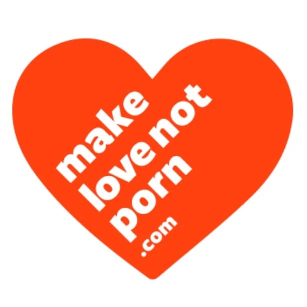 a heart illustration with the message make love not porn