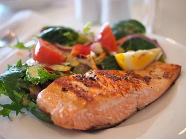 Eating and Living Well in your 40s, 50s and Beyond- salmon salad