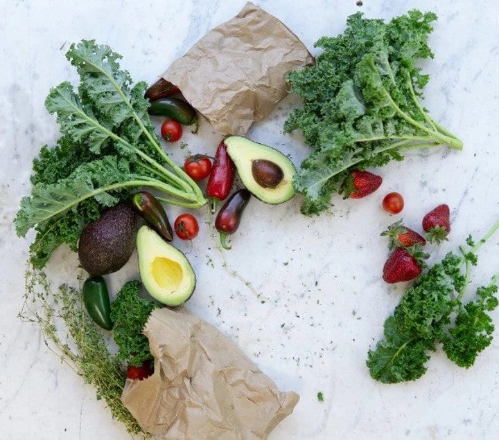 Kale, avocado, berries and peppers -Eating and Living Well in your 40s, 50s and Beyond