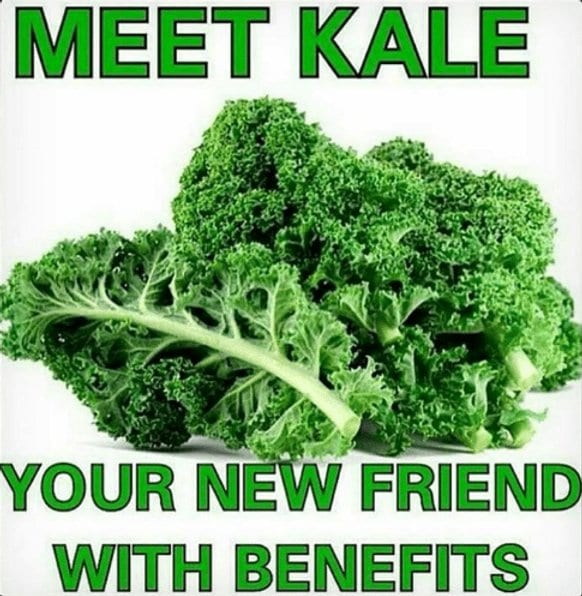 A photo of kale with a message: meet kale, your new friend with benefits